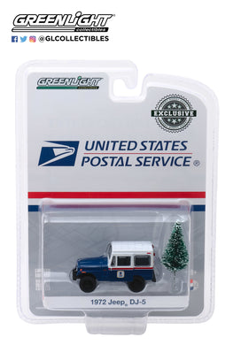 GreenLight 1:64 1972 Jeep DJ-5 United States Postal Service (USPS) - Blue with White Roof with Christmas Tree Accessory 30118