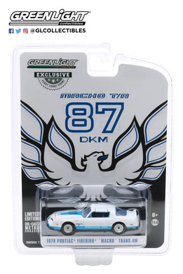 GreenLight 1:64 1978 Pontiac Firebird Macho Trans Am #87 of 204 by Mecham Design - White and Blue 30150