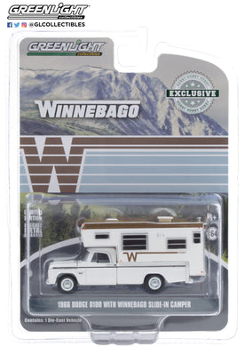 GreenLight 1:64 1966 Dodge D-100 with Winnebago Slide-In Camper 30189
