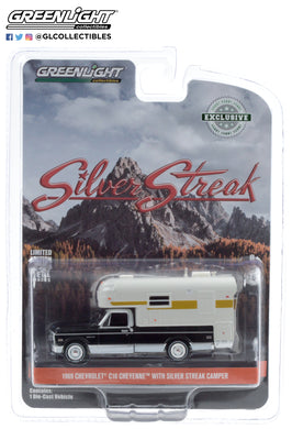 GreenLight 1:64 1969 Chevrolet C-10 Cheyenne with Silver Streak Camper 30190