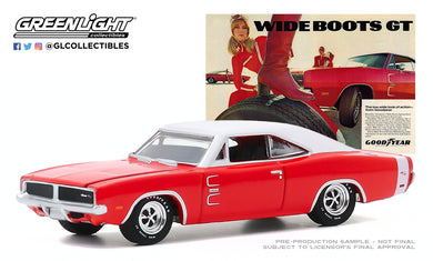 GreenLight 1:64 Goodyear Vintage Ad Cars - 1969 Dodge Charger - Wide Boots GT The low, wide look of action from Goodyear 30196