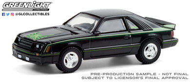 GreenLight 1:64 1980 Ford Mustang Cobra - Black with Green Cobra Hood Graphics and Stripe Treatment 30228
