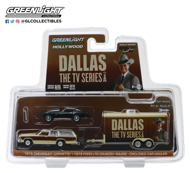 GreenLight 1/64 Hollywood Hitch & Tow Series 6 - Dallas (1978-91 TV Series) - 1979 Ford LTD Country Squire with 1978 Chevrolet Corvette C3 in Enclosed Car Hauler 31070-C