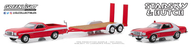 GreenLight 1:64 Hollywood Hitch & Tow Series 7 - Starsky and Hutch (1975-79 TV Series) - 1976 Ford Ranchero with 1976 Ford Gran Torino on Flatbed Trailer 31080-A