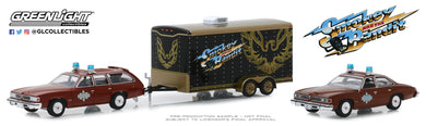 GreenLight 1:64 Hollywood Hitch & Tow Series 7 - Smokey and the Bandit (1977) - 1977 Pontiac LeMans Safari with Sheriff Buford T. Justice s 1977 Pontiac LeMans in Enclosed Car Hauler 31080-B