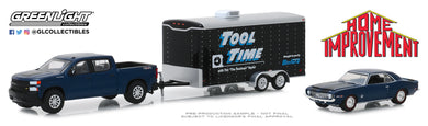 GreenLight 1:64 Hollywood Hitch & Tow Series 7 - Home Improvement (1991-99 TV Series) - 2019 Chevrolet Silverado with 1969 Chevrolet Camaro SS in Enclosed Car Hauler 31080-C