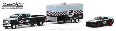 GreenLight 1:64 Racing Hitch & Tow Series 2 - 2019 Ford F-350 Dually and 2019 Ford Shelby GT350R Gulf Oil with Enclosed Gulf Oil Car Hauler 31090-B