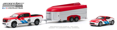 GreenLight 1:64 Racing Hitch & Tow Series 2 - 2019 Nissan Titan XD Pro-4X and 2019 Nissan 370Z BRE #46 (Brock Racing Enterprises) with Aerovault MKII Trailer 31090-C