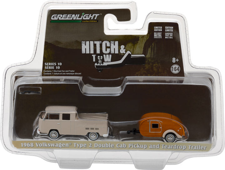 GreenLight 1/64 Hitch & Tow Series 10 - 1968 Volkswagen T2 Type 2 Double Cab Pick-Up with Tear Drop Trailer 32100-A