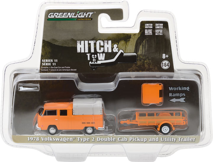 GreenLight 1/64 Hitch & Tow Series 11 - 1978 Volkswagen T2 Double Cab with Canopy and Utility Trailer 32110-A