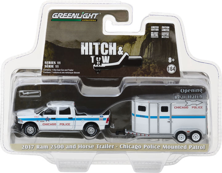 GreenLight 1/64 Hitch & Tow Series 11 - 2017 Dodge Ram 2500 and Chicago Police Department Horse Trailer 32110-D