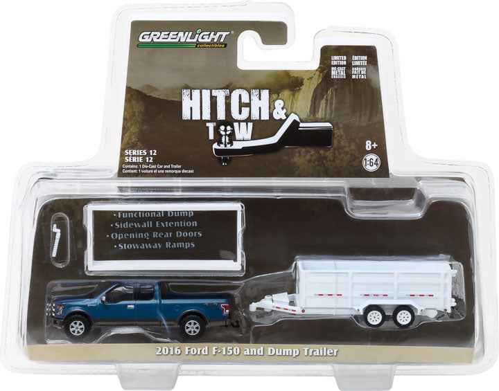 GreenLight 1/64 Hitch & Tow Series 12 - 2016 Ford F-150 and Double-Axle Dump Trailer 32120-C