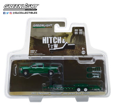 GreenLight 1/64 Hitch & Tow Series 14 - 2015 Chevrolet Silverado and Heavy Duty Car Hauler 32140-B