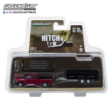 GreenLight 1/64 Hitch & Tow Series 14 - 2017 Dodge Ram 2500 and Double-Axle Dump Trailer 32140-D