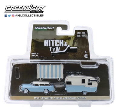 GreenLight 1/64 Hitch & Tow Series 16 - 1955 Chevrolet Nomad and Shasta Airflyte with Awning 32160-A