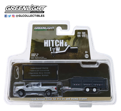 GreenLight 1/64 Hitch & Tow Series 16 - 2018 Nissan Titan XD Pro-4X and Double-Axle Dump Trailer 32160-D