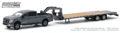 GreenLight 1:64 Hitch & Tow Series 19 - 2018 Nissan Titan XD Pro-4X and Gooseneck Trailer 32190-C