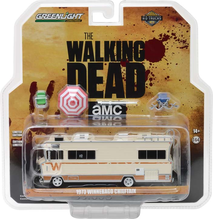 GreenLight 1/64 H.D. Trucks Series 10 - The Walking Dead (2010-Current TV Series) - Dale's 1973 Winnebago Chieftain with Umbrella and Camping Chairs 33100-B