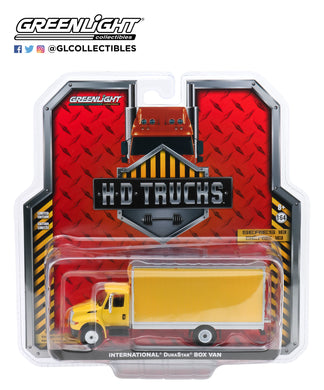 GreenLight 1:64 H.D. Trucks Series 18 - 2013 International Durastar Box Van - Yellow with Silver Trim 33180-B