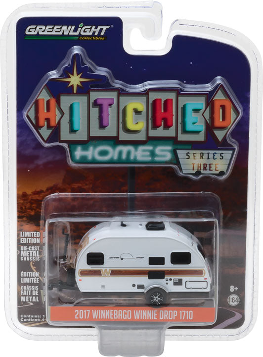 GreenLight 1/64 Hitched Homes Series 3 - 2017 Winnebago Winnie Drop - White with Woody Graphics 34030-E