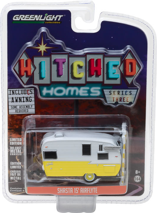 GreenLight 1/64 Hitched Homes Series 3 - Shasta Airflyte - White and Yellow with Awning 34030-F