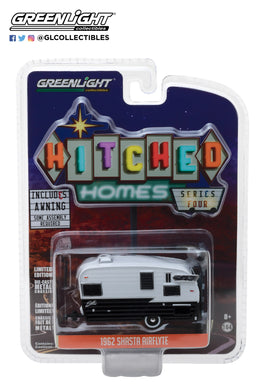 GreenLight 1/64 Hitched Homes Series 4 - Shasta Airflyte - Black and White with Awning 34040-F
