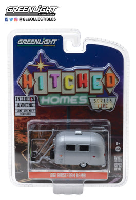 GreenLight 1/64 Hitched Homes Series 5 - Airstream 16' Bambi with Green and White Awning 34050-F