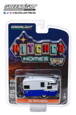 GreenLight 1:64 Hitched Homes Series 7 - Shasta Airflyte - White and Dark Blue 34070-F