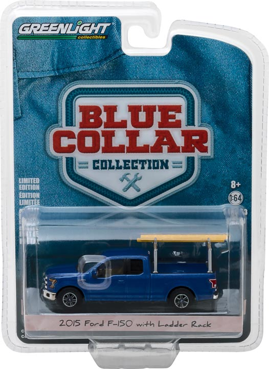 GreenLight 1/64 Blue Collar Collection Series 3 - 2015 Ford F-150 with Ladder Rack 35080-E