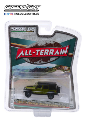 GreenLight 1:64 All-Terrain Series 9 - 2010 Jeep Wrangler Unlimited Mountain Edition - Rescue Green 35150-E