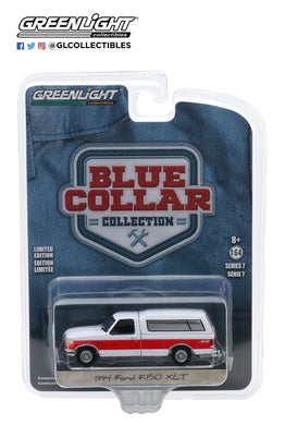 GreenLight 1:64 Blue Collar Collection Series 7 - 1994 Ford F-150 XLT with Camper Shell - Red and White 35160-E