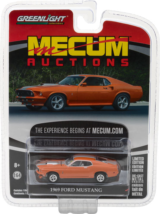 GreenLight 1/64 Mecum Auctions Collector Cars Series 1 - 1969 Ford Mustang Resto Mod - Orange with Silver Stripes 37110-A