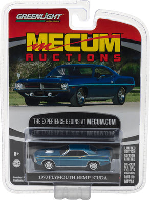 GreenLight 1/64 Mecum Auctions Collector Cars Series 1 - 1970 Plymouth HEMI Cuda - Jamaica Blue 37110-D