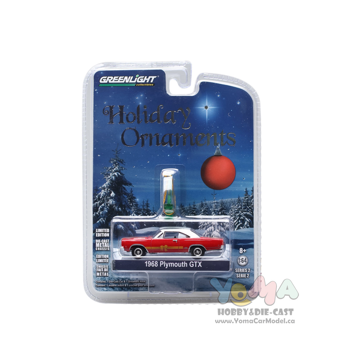 GreenLight 1/64 GreenLight Holiday Ornaments Series 2 - 1968 PLYMOUTH GTX RED 37120-C