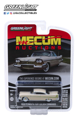 GreenLight 1/64 Mecum Auctions Collector Cars Series 3 - 1958 Plymouth Fury Golden Commando - Sand Dune White on Beige (Kissimmee 2012) 37170-B
