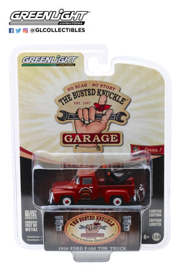 GreenLight 1/64 Busted Knuckle Garage Series 1 - 1956 Ford F-100 Tow Truck-Busted Knuckle Garage Parts & Service 39010-B