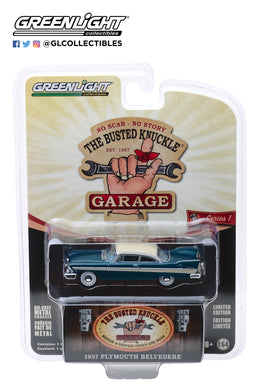 GreenLight 1/64 Busted Knuckle Garage Series 1 - 1957 Plymouth Belvedere-Busted Knuckle Garage Gas & Oils 39010-C