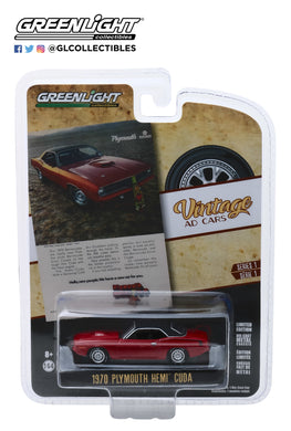GreenLight 1:64 Vintage Ad Cars Series 1 - 1970 Plymouth HEMI Cuda Hello, New People. We Have A New Car For You 39020-C