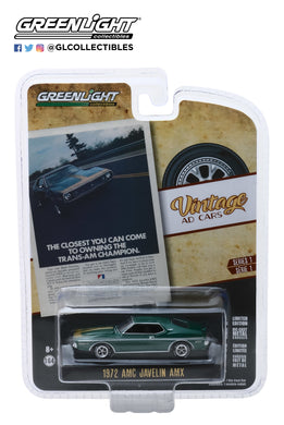 GreenLight 1:64 Vintage Ad Cars Series 1 - 1972 AMC Javelin AMX The Closest You Can Come To Owning The Trans-Am Champion 39020-D