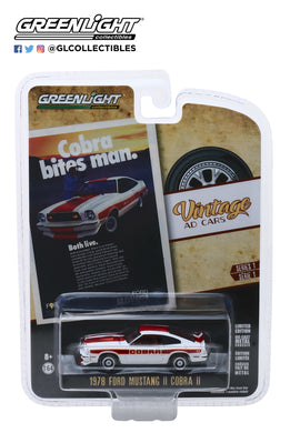 GreenLight 1:64 Vintage Ad Cars Series 1 - 1978 Ford Mustang II Cobra II Cobra Bites Man. Both Live. 39020-F