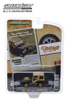 GreenLight 1:64 Vintage Ad Cars Series 2 - 1977 Jeep CJ-5 Golden Eagle The Golden Eagle Comes to Jeep Country 39030-E