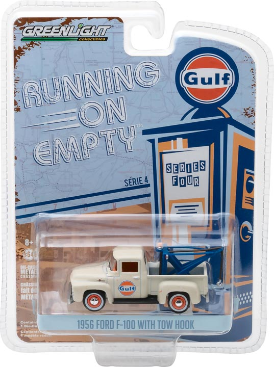 GreenLight 1/64 Running on Empty Series 4 - 1956 Ford F-100 with Drop-in Tow Hook - Gulf Oil 41040-C