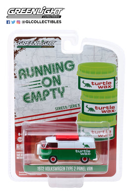 GreenLight 1:64 Running on Empty Series 9 - 1972 Volkswagen Type 2 Panel Van - Turtle Wax 41090-D