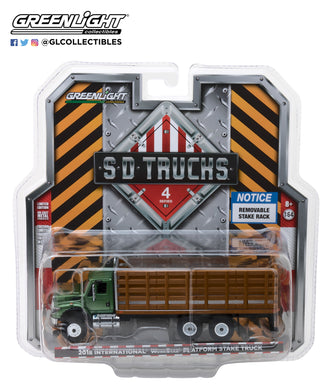 GreenLight 1/64 S.D. Trucks Series 4 - 2018 International WorkStar Platform Stake Truck with Wood Effect 45040-B