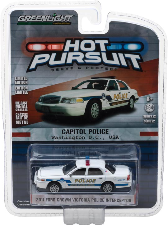GreenLight 1/64 Hot Pursuit Series 22 - 2011 Ford Crown Victoria Police Interceptor Capitol Police Diecast Model Car 42790-A