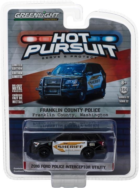 GreenLight 1/64 Hot Pursuit Series 22 - 2016 Ford Police Interceptor Utility Franklin County Washington Sheriff Diecast Model Car 42790-E