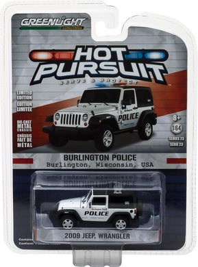 GreenLight 1/64 Hot Pursuit Series 23 - 2009 Jeep Wrangler - Burlington, Wisconsin Diecast Model Car 42800-D
