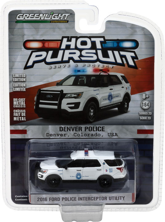 GreenLight 1/64 Hot Pursuit Series 23 - 2016 Ford Police Interceptor Utility - Denver Colorado Diecast Model Car 42800-F