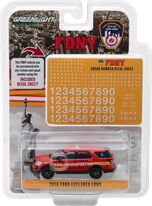 GreenLight 1/64 Hot Pursuit - 2016 Ford Interceptor Utility Official Fire Department City of New York (FDNY) with FDNY Squad Number Decal Sheet 42823