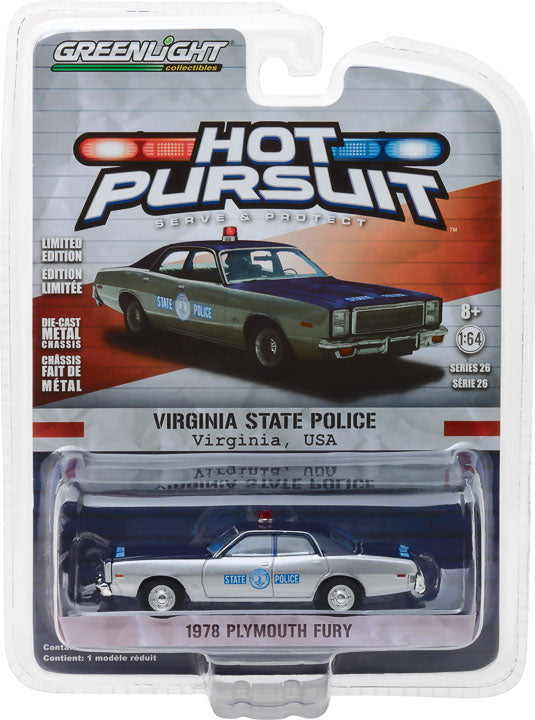 GreenLight 1/64 Hot Pursuit Series 26 - 1978 Plymouth Fury Virginia State Police 42830-C